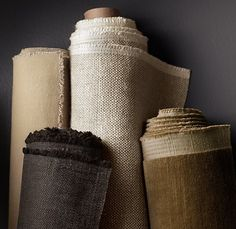Restoration Hardware: chairs-Belgian linen sand, couch-army duck natural fabric by the yard Fabric Photography, Shabby, Passementerie, Linens And Lace, Textile Fabrics, Fabric Wallpaper, Restoration Hardware, Linen Fabric, Burlap Fabric