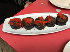 This morcilla with rice and red peppers in a restaurant in Barcelona was superb.