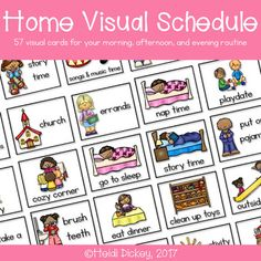 This pack contains 57 different visual schedule cards with common tasks that toddlers and preschool age children do during any given day. These cards can be used in a variety of ways, but are intended to help your young children see how their day is going to go and help them to feel more in control of their day.
