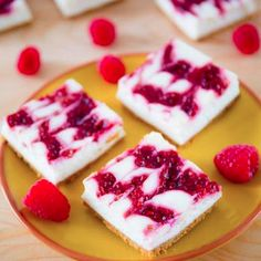 Skinny Raspberry Swirl Cheesecake Bars