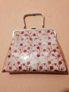 1950s Vinyl pink handbag
