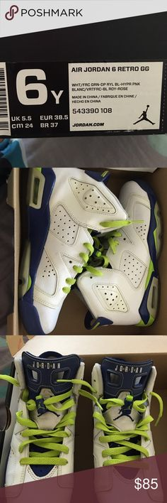 Jordan 6's White, green, blue mikes! Size 6 worn like 3 times have box and all Jordan Shoes Athletic Shoes