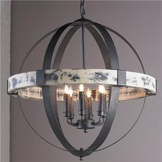 Aspen Wrought Iron Globe Chandelier - Large