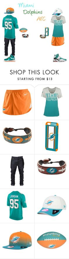"""""""Miami Dolphins AFC"""" by hoodie-326 on Polyvore featuring NIKE, GameWear, Forever Collectibles, New Era, Jarden, women's clothing, women's fashion, women, female and woman"""