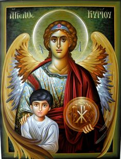 Archangel Raphael with Tobiah Religious Images, Religious Icons, Religious Art, Angel Warrior, Archangel Gabriel, I Believe In Angels, Religious Paintings, Byzantine Icons, Angels Among Us