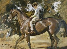 Sir Alfred James Munnings, Arturo von Schroeders on a polo pony, study