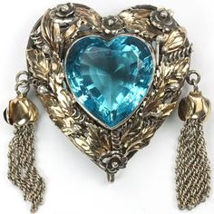 Hobe Sterling Gold and Aquamarine Heart with Two Golden Pendant  Tassels Pin 1945