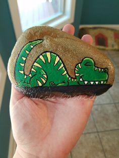 Sleepy dinosaur #paintedrocks #kindnessrocks
