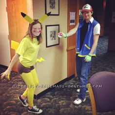 This Ash Ketchum and Pikachu costume creation was an awesome experience! My boyfriend and I were Pikachu and Ash for the infamous Halloween at Ohio . Superhero Couples Costumes, Cool Couple Halloween Costumes, Halloween Costume Contest, Family Costumes, Halloween Cosplay, Costume Ideas, Couple Costumes, Halloween Ideas, Toddler Costumes