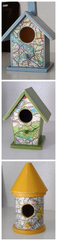DIY Map Birdhouses