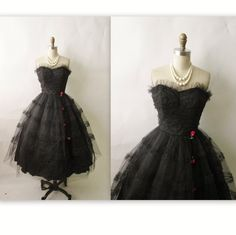 50s Prom Dress // Vintage 1950's Strapless Black Tulle Bombshell Cocktail Party Prom Dress S M. $168.00, via Etsy.