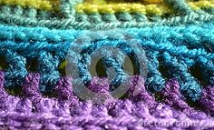 Colored Pattern Crochet Fabric Background.