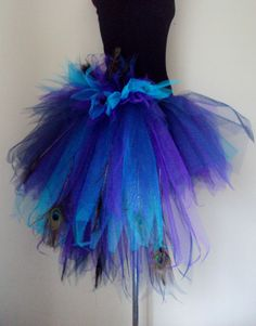 PeacocK Feather Burlesque Bustle Skirt Blue By Thetutustoreuk