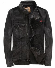 Mens Washed VINTAGE motorcycle retro Denim Jean Jacket Coat outwear black in Clothing, Shoes & Accessories, Men's Clothing, Coats & Jackets   eBay