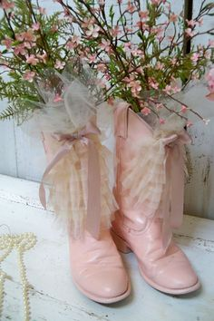 Pink cowboy boots recycled ruffled floral embellished western cottage decorative piece Anita Spero