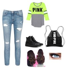 """""""School day"""" by paola-3154tovar ❤ liked on Polyvore featuring Current/Elliott, Converse and Maybelline"""