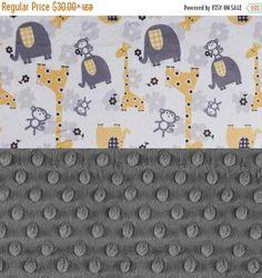 SALE Animal Minky Baby Blanket Personalized Baby Blanket