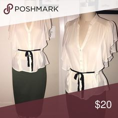 🔴Sale🔴70s inspired Cream blouse with black sash Perfect top for a pencil skirt. Accentuates the curves in all the right places. 100% polyester. Forever 21 Tops Blouses