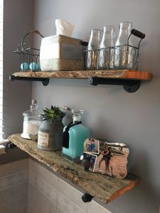 How to Build DIY Rustic Industrial Shelves From Reclaimed Barnwood Rustic Wooden Shelves, Diy Rustic Decor, Vintage Industrial Decor, Diy Wall Decor, Diy Home Decor, Industrial Shelves, Industrial Pipe, Industrial Hardware, Industrial Design
