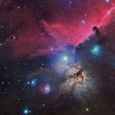 The bright emission nebula NGC also known as the Flame Nebula, glows beneath the dark Horsehead Nebula in this photo. The bright, red cloud behind them is the nebula IC These nebulas are located in the Orion constellation to the far east of Orion's belt. Horsehead Nebula, Orion Nebula, Cosmos, Hubble Space Telescope, Space And Astronomy, Space Facts, Space Photos, Space Images, Galaxy Space