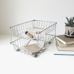 vintage double metal inbox   desk basket   paper tray by ohalbatross on Etsy