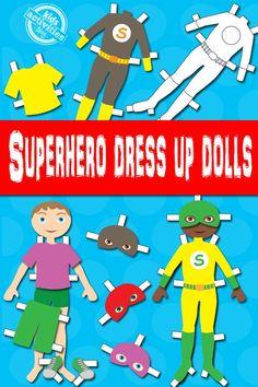 boy superhero dress up dolls free kids printable - Html Color Sheet