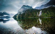 mountain, lake, waterfall, fog, forest, New Zealand