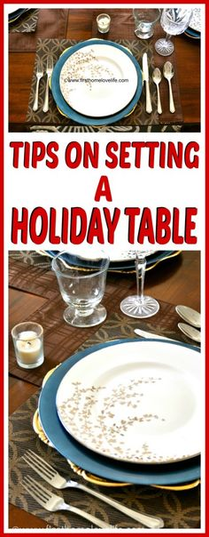 Tips on Setting a the perfect holiday table! You will definitely be the hostess with the mostest! These easy steps will have your Thanksgiving or Holiday tables looking beautiful! Christmas Table Settings, Christmas Tablescapes, Holiday Tables, Thanksgiving Table, Thanksgiving Decorations, Christmas Decorations, Table Decorations, All Things Christmas, Christmas Holidays