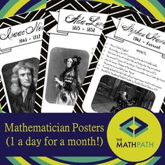 31 Posters on various mathematicians! Check them out!