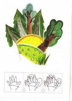 Рисование ладошками для детей. Схема - лес