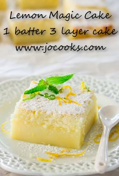Lemon Magic Cake is made with just a few ingredients. There's no other steps required besides mixing everything together and baking. It then creates a cake with 3 yummy layers! Try this easy cake recipe today and you won't regret it.