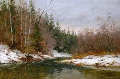 Река Воря весной. 60х80, х. м. 2010 г. Сергей Крупский.