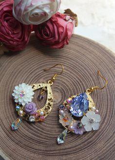 Fields of Lavender Mismatched Earrings  by OpusJewelDesigns