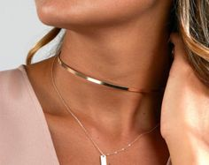 Thin Choker Necklace, Choker Necklace Gold Neck Ring, Collar Necklace in Silver, Gold Filled, Rose Gold Filled Gold Chain Choker, Silver Choker, Gold Choker Necklace, Long Pendant Necklace, Simple Necklace, Collar Necklace, Dainty Necklace, Delicate Jewelry, Silver Rings