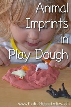 Simple Fun for Kids: Animal Imprints in Homemade Play Dough - a simple alternative to using cookie cutters! Works great for toddlers!