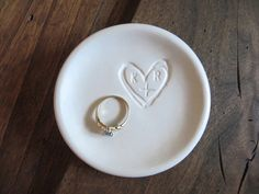 Celebrate a special relationship with this hand-made custom ceramic ring dish. These ring dishes make thoughtful, very personal and unique wedding. Unique Wedding Gifts, Unique Weddings, Rustic Wedding, Gift Wedding, Ring Holder Wedding, Wedding Rings, Monogram Ring Dish, Engagement Presents, Engagement Ring