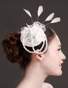 ❀ Appliqued Barrette Bridal Hat With Feathers | Riccol ❤