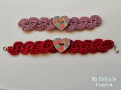 FREE PATTERN ~ @ http://www.myhobbyiscrochet.com/2013/10/crochet-bracelet-with-heart-button.html#more