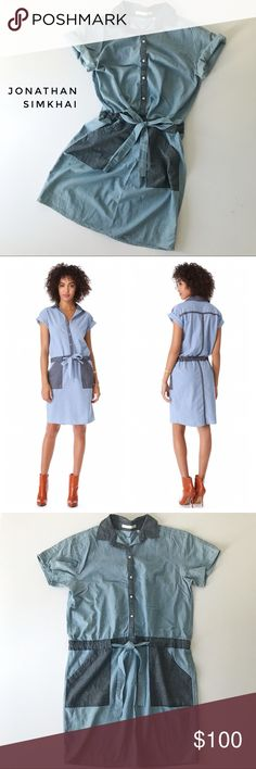 """⭐️ Jonathan Simkhai dress, size S Two-tone detailed chambray dress with short sleeves from Jonathan Simkhai.  Collared, buttoned front, slant patch pockets, drawstring waist.  Loose fit, hits knee-length.  Playful and utilitarian style.  🍈 Size small - bust 40"""", waist 38"""", length 36"""" 🍈 Condition: good - light wear 🍈 Material: 100% cotton Jonathan Simkhai Dresses Midi"""