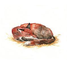 Sleeping Red Fox  Original Watercolor 6''x9'' wildlife nature art nap nursery art baby shower whimsical winter christmas new year's eve