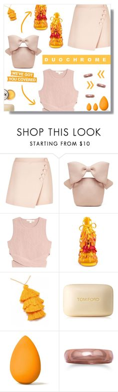 """Duochrome."" by peony-and-python ❤ liked on Polyvore featuring Chloé, Simone Rocha, Jonathan Simkhai, Privileged, Tom Ford, beautyblender, Heels, orange, nude and duochrome"