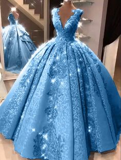 Ball Gown V Neck Floor Length Prom Dresses with Appliques, Quinceanera Dress - Ball Gown V Neck Prom Dresses with Appliques, Long Quinceanera Dresses – Mmocu Source by - Pretty Quinceanera Dresses, Pretty Prom Dresses, Plus Size Prom Dresses, Sweet 16 Dresses, Beautiful Dresses, Quincenera Dresses Blue, Quinceanera Planning, Sweet Sixteen Dresses, Royal Blue Prom Dresses