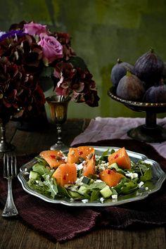 Paahdettu kurpitsasalaatti | K-ruoka #myskikurpitsa #kurpitsa Finnish Recipes, Cobb Salad, Chili, Food, Chili Powder, Chilis, Essen, Chile, Yemek