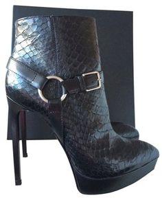 a30cb29c5b9 Saint Laurent Python Janis Black Boots Platform Ankle Boots, Python, Ysl, Bootie  Boots