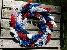 Patriotic Red, White, and Blue Pine Cone Wreath.  www.etsy.com/shop/NaturesCraftSupply