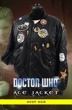 Doctor Who Ace Patches and Badges Bomber Jacket Doctor Who Shop, Motorcycle Jacket, Bomber Jacket, Badges, Rib Knit, New Look, Shop Now, Patches, Ootd