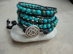 Celtic Knot II Turqouise Beaded Leather Wrap Bracelet