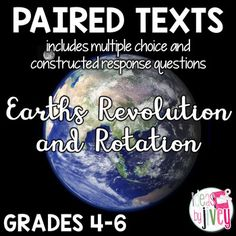 FREE Paired Texts / Paired Passages: Earth's Revolution and Rotation 2nd Grade Reading Worksheets, 5th Grade Reading, Teaching Science, Learning Activities, Teaching Ideas, Stars And Solar System, Constructed Response, 5th Grade Science, Instructional Coaching