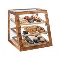 Madera Slanted Bakery Cases Item: 3432-99, 3432-S-99 (Self Serve). Available in Self-Serve or Attendant Serve, this slated Madera Bakery Case is an absolute stunning piece to showcase your pastries, donuts, muffins, and more! Add our chalkboard tents to easily label your food items clearly for consumers.