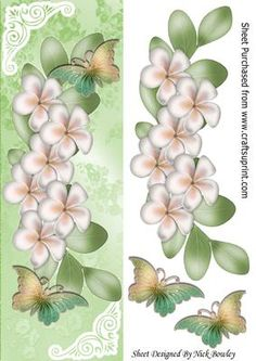 Cascading cream flowers with rainbow butterflies tall DL on Craftsuprint - Add To Basket!